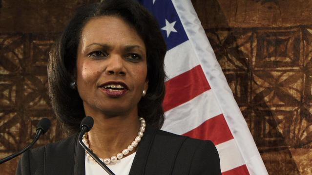 Condi Rice With Flag